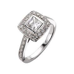 EC One Medium Square Emma Diamond Ring ($6,865) found on Polyvore