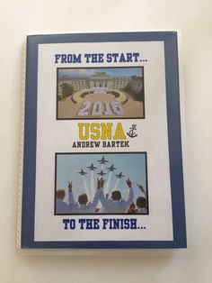 A personal favorite from my Etsy shop https://www.etsy.com/listing/263552096/usna-personalized-photo-book-graduation
