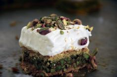 Pistachio Bars with Marshmallow Fluff | Karabij Hallab Mad with Natef