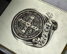 Medalha de Sao Bento - desenho para tatuagem - Thiago Padovani