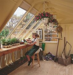 If you are scratching your head on the perfect workshop for gardening, consider a solar building like this one. Features lots of storage space, huge windows, shelving and a beautiful cedar workbench. Greenhouse Shed, Small Greenhouse, Greenhouse Heaters, Pallet Greenhouse, Indoor Greenhouse, Workshop Shed, Workshop Ideas, Workshop Design, Potting Tables