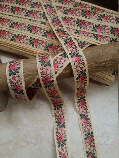 Items similar to Vintage Muted Butter yellow French Jacquard Ribbon Trim with embroidered berry sherbet sunset ombre florals and green leaves on Etsy Border Embroidery Designs, Mesh Ribbon, Floral Ribbon, Saree Border, Silk Ribbon Embroidery, Embroidery Saree, Dress Neck Designs, Couture, Silk Thread