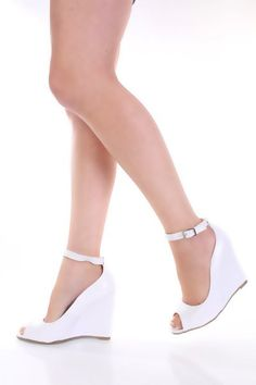 White Peeptoes Ankle Buckle Wedges - love the idea to wear wedges to the wedding. My most fave type of shoes!