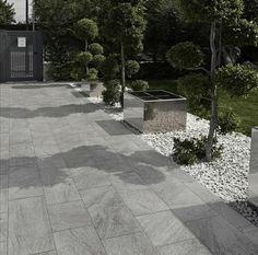 sol terrasse grès cérame aspect pierre grise #jardinespatios