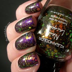 Kleancolor Chunky Holo Black over OPI Servin' Up Sparkle over OPI Grape Set Match by The Swatchaholic.