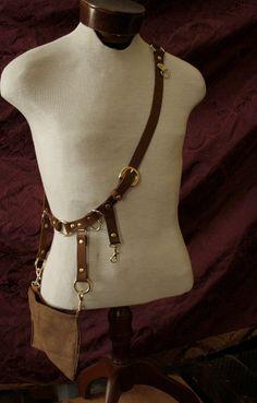 Steampunk Belt Bandolier w/ pocket pouch, Brass, brown leather, Great Firefly Browncoat Ren Faire Festival. $80.00, via Etsy.