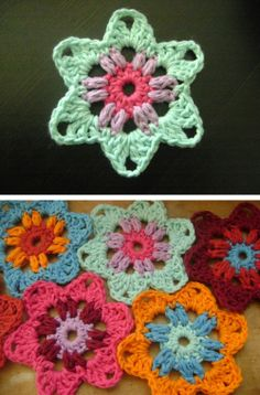 Grammy Stars, free pattern from Launi of Gracious Rain.  Small 3-round motif that could be extended out; so cute, lots of possibilities  . . . .   ღTrish W ~ http://www.pinterest.com/trishw/  . . . .  #crochet #star
