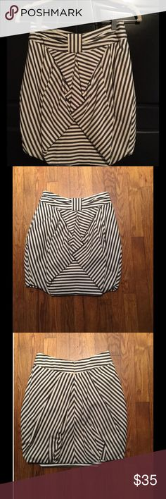 Freeway Blue and Ivory Striped Skirt Such a fun skirt! Much like the Eva Franco skirt from Anthropologie, but Freeway brand. Size small.  Thick fabric with under layer. Nice pre loved condition. Offers welcomed! Freeway Skirts