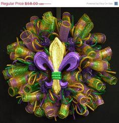 ON SALE Mardi Gras Fleur de Lis Wreath Mardi by wreathsbyrobin See more at: https://www.etsy.com/shop/wreathsbyrobin