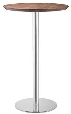 "ZM Home Elegant Chromed Steel 41"" Round Bar Table - Walnut"