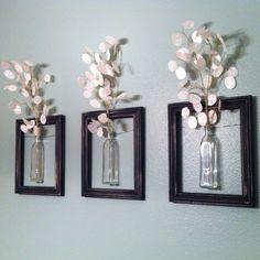 DIY Hanging picture frame vases.