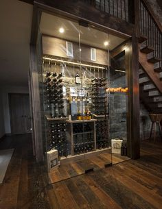 Under stairs space shouldn't be left unused, it's not a dead space! For those of you who love wine we've gathered cool ideas to organize a wine cellar or some simple wine storage space there. Glass Wine Cellar, Home Wine Cellars, Wine Cellar Design, Wine Glass, Whisky Regal, Under Stairs Wine Cellar, Alcohol Storage, Wine Storage Cabinets, Wine Display