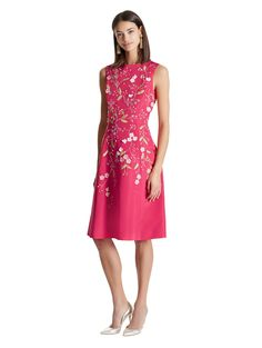 Exclusive Floral Embroidered Silk Faille Cocktail Dress - Dresses - Ready-to-Wear