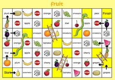 snakes and ladders fruit Preschool Games, Kids Learning Activities, English Lessons, Learn English, English Games, Very Hungry Caterpillar, Speech And Language, Kids Education, Teaching English