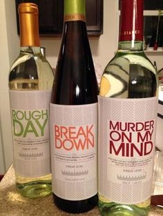 Threat Level Wine - homemade labels! Perfect for a baby shower, co-worker!