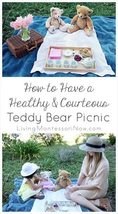 A fun, healthy way to reinforce grace and courtesy lessons and observe Teddy Bear Picnic Day on July Great for any time there's nice weather, though! Picnic Activities, Montessori Activities, Toddler Activities, Montessori Playroom, Toddler Games, Preschool Themes, Songs For Toddlers, Kids Songs, Bear Songs