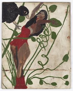 'Woman and Giant Bird'  by Antiguan artist Frank Walter (b.1926). Oil on photographic paper, 25.2 x 20.2 cm. via Ingleby Gallery