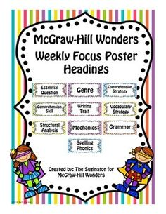 These are the heading cards (in portrait) for the McGraw-Hill Reading Wonders Program. They are used on my bulletin board to highlight the skills for the week.