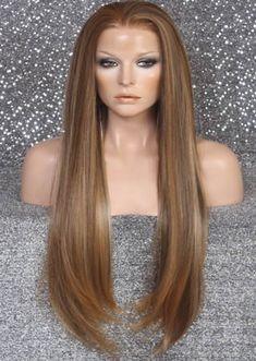 Peluca Larga Color Castaño Dorada y Destellos Color Castaño, Short Hair Styles, Beauty, Templates, El Dorado, Hair Wigs, Hairstyles, Haircuts, Colors