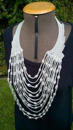 .: Maxicolar colar em crochê: nova versão com fio Fas...
