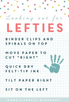 Looking out for Lefties: Handy tips for left-handed writers - Home Literacy Blueprint Teacher Tools, Teacher Hacks, Learning To Write, Kids Learning, Learning Support, Thinking Day, Literacy Activities, Educational Activities, Sixth Grade
