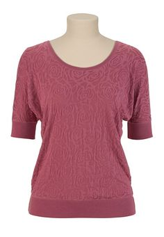 Rose Burnout Pullover - maurices.com  Layering off white tank, rose burnout, scarf, jeggings, and boots.