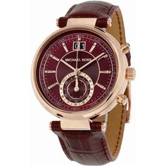 Michael Kors Sawyer Burgundy Dial Burgundy Leather Ladies Watch ($149) ❤ liked on Polyvore featuring jewelry, watches, michael kors, chrono watch, leather chronograph watch, chronograph watch and michael kors jewelry