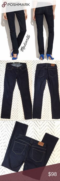 "Madewell Rail Straight Jeans, size 27 Not skinny, not slouchy—just a cool straight leg. Why they're so great: Our special denim has tons of stretch, never bags out and does life-altering things to the rearview.   Sit at hips. Fitted through hip and thigh, with a straight leg. Approximate Measurements (flat): 15.5"" across waist, 18"" across hip, 8"" rise, 31"" inseam.  In excellent pre-owned condition. 🎀Search my closet for your size 🎀BUNDLE and SAVE! 🎀REASONABLE offers WELCOME 🎀NO TRADES NO…"