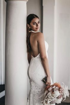 INDIGO Halter neck wedding dress by Emmy Mae Bridal. Indigo's high neckline is a showstopper. Her stunning low back demands attention and is the perfect style for the statement-making bride. Home Wedding, Halter Neck, Bridal Dresses, One Shoulder Wedding Dress, Indigo, Fashion Dresses, Neckline, Bride, Lace
