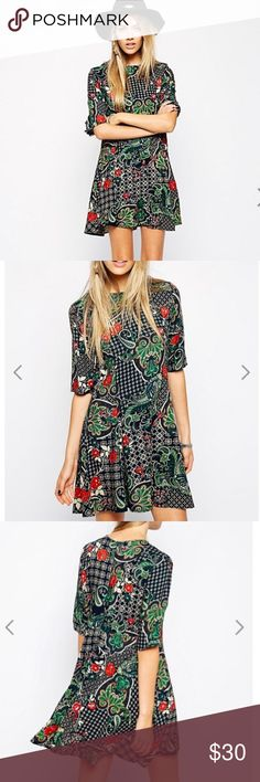 ASOS Glamorous fit and flare dress ASOS Glamorous fit and flare dress in geometric floral paisley print. U.K. Size 10 fits like a US size 6 ASOS Dresses Mini