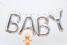 "Baby Balloon Silver Baby Shower Party Decoration! Silver Balloon Letters Spell ""BABY"". by ThisLittleParty on Etsy"