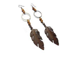 Bronze Feather earrings Long Modern earrings Statement earrings Dangle earrings Boho Alternative jewelry Handmade Bohemian Jewelry by Neda Etsy Handmade, Handmade Jewelry, Handmade Items, Unique Jewelry, Handmade Gifts, Feather Earrings, Boho Earrings, Statement Earrings, Online Gifts