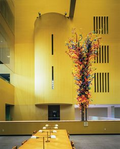 Dale Chihuly sculpture, titled 'Fiesta Tower,' in Main Library, San Antonio, Texas, 2011