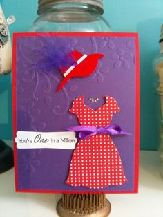 For the Red Hat Ladies =) Red Hat Club, Red Hat Ladies, Hat Decoration, Red Hat Society, Purple Cards, Red Jewel, Hat Crafts, Shaped Cards, Beautiful Handmade Cards