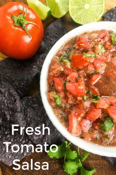 Chips are so much better, when they are served with homemade salsa made with fresh tomatoes, jalapeno, garlic, onion and cilantro.