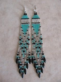 Beadwoven Native American Style Seed Bead Earrings  by pattimacs, $21.00