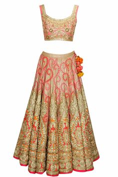 Pink and gold embroidered bridal lehenga set by Aharin India.