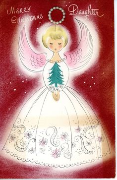 Vintage Norcross Christmas Greetiing Card Angels with Pearl Halo 2094