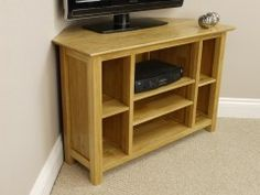 Milan Solid Oak Corner Plasma TV DVD Video Unit #tvstand