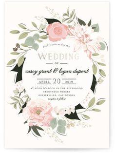 Petal Surround Foil-Pressed Wedding Invitations
