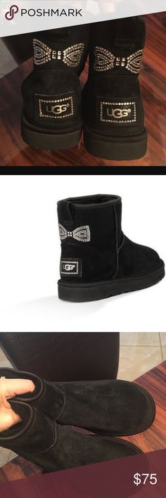 Cute bow bling UGG Black suede gently used ! Lin great condition!used a few time ! UGG Shoes Winter & Rain Boots