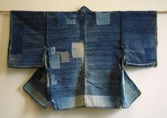 A Boro Sakiori Noragi: Indigo Rags and Patches Shibori, Japanese Textiles, Japanese Fabric, Indigo, Kimono Design, Sashiko Embroidery, Clothing And Textile, Japan Fashion, Diy Clothes