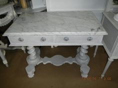 Beautiful Victorian washstand techniqued with french linen and an original dry brush technique