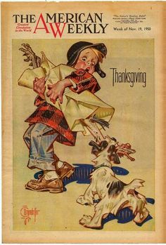 J.C. Leyendecker, illustration art for The American Weekly (Thanksgiving cover, 1950).