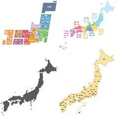 日本地図(デザインマップ/白地図/シルエット地図)の無料イラスト素材