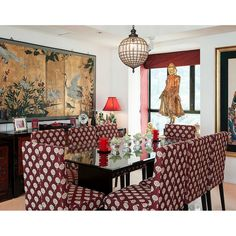 Asian inspired dining room in red. Can you guess which country it is from? #rumahkudiningroom