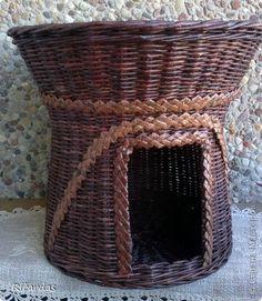 Поделка изделие Плетение Дом для Кеши Трубочки бумажные фото 1 кошкин дом Pinterest