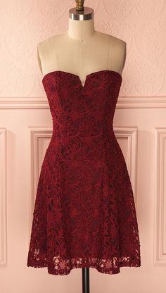 Red lace Homecoming Dresses,Short red Prom Dresses,Cute Prom Dresses,Beaded Homecoming Dresses,Sweet 16 Dresses,Cocktail Dresses