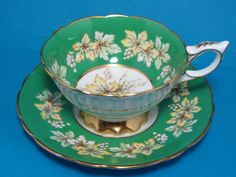 "ROYAL STAFFORD - ""Consort"" Green Band Grape & Leaf Design - FOOTED CUP & SAUCER"