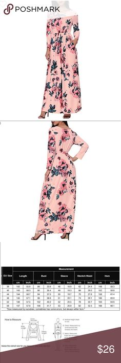 💜NWT💜Floral Maxi Dress Beautiful silky 3/4 sleeve maxi dress is a flowy 95%  Spandex 5%. With empire waistline in peachy pink background & shades of blue flowers PERFECT for the Spring/Summer. Also available in navy blue background with pink flowers Dresses Maxi
